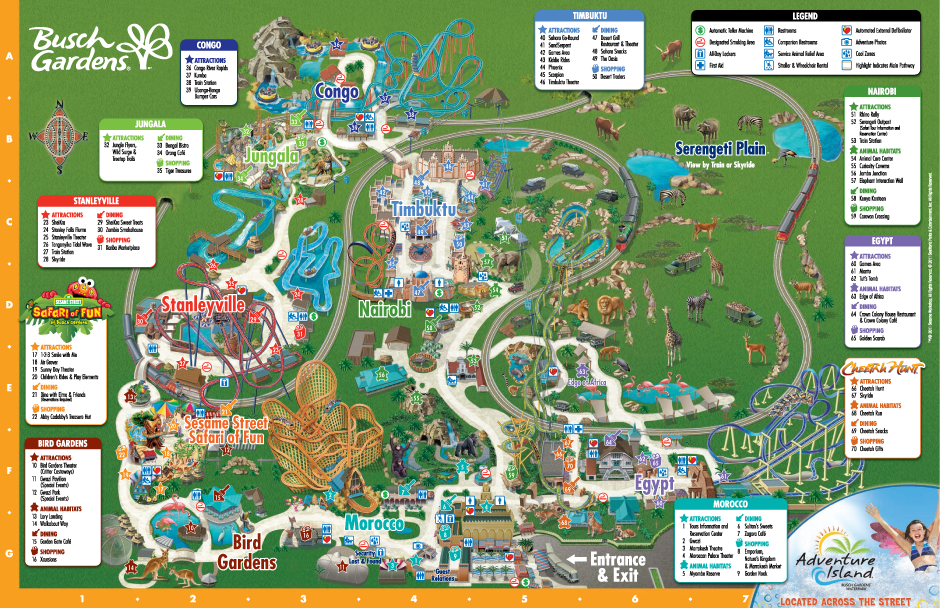 busch gardens map - florida theme parks